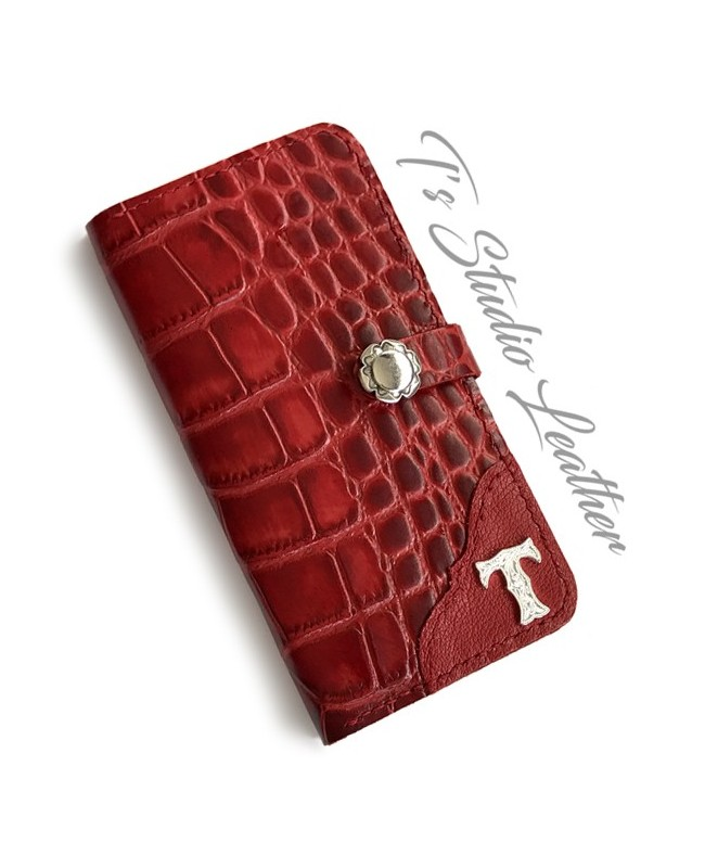 Red Alligator Croc Leather Phone Case
