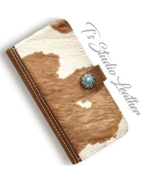 Hair On Cowhide Leather Wallet Phone Case