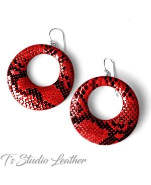 Python Snakeskin Leather Hoop Earrings
