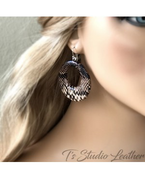 Python Snakeskin Leather Hoop Earrings