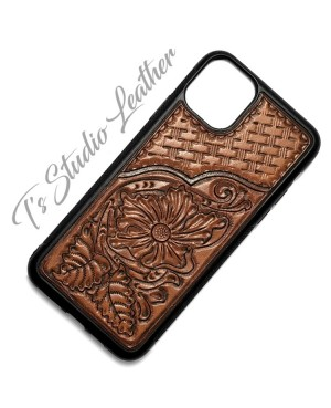 Basketweave Pattern Tooled Leather Phone Case
