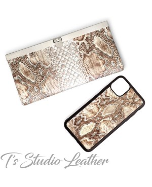 Python Snakeskin Cowhide Leather Phone Case