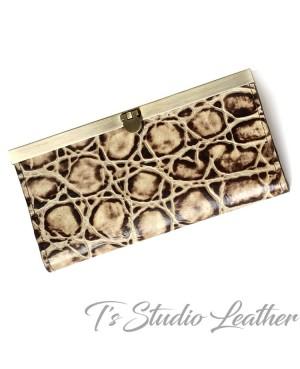 Tortoise Texture Cowhide Leather Women's Wallet