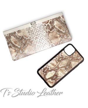 Python Snakeskin Cowhide Leather Women's Wallet