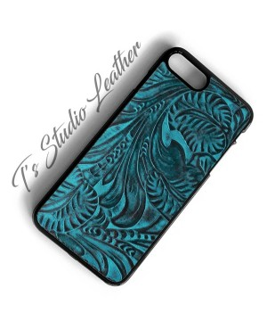 Western Turquoise and Black Leather Phone Case
