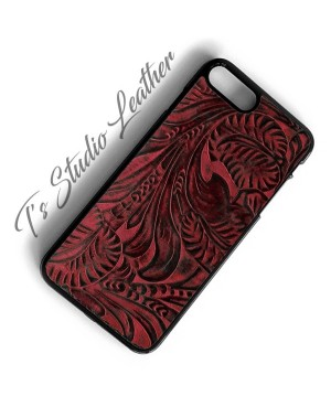 Western Burgundy and Black Floral Embossed Leather Phone Case