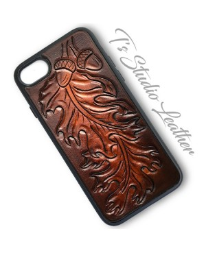 Oak Leaf and Acorn Western Tooled Leather Phone Case
