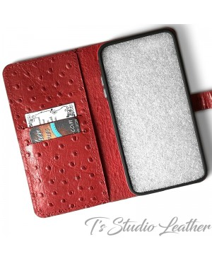 Ts Studio Leather Red Ostrich Personalized Leather Wallet Phone Case
