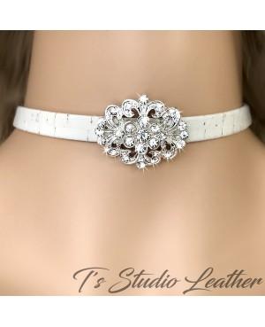 Boho Chic Choker Necklace - Vintage Ivory Cork Leather with Rhinestone Flower - Rustic Beach Wedding Jewelry