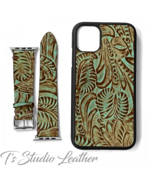 Western Style Turquoise Leather Phone Case and Watch band