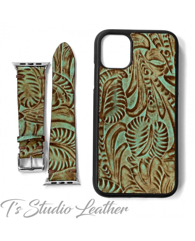 Western Style Brown and Turquoise Leather Phone Case with matching Apple Watch band