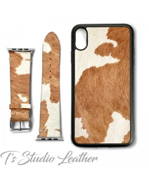 Western Style Hair On Cowhide Leather Phone Case with matching Apple Watch band