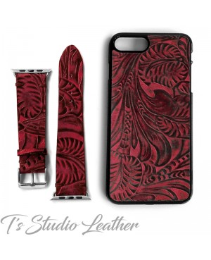 Western Style Black and Burgundy Leather Phone Case with matching Apple Watch band