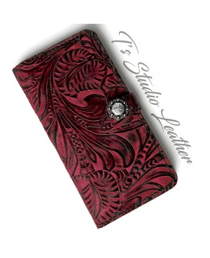 Western Style Black and Burgundy Leather Phone Case
