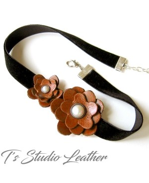 Red Leather Flower Choker Necklace - Black Velvet