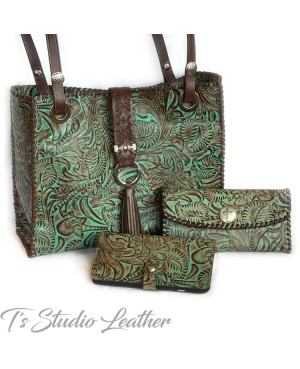 Western Style Brown and Turquoise Leather Phone Case with matching wallet and handbag