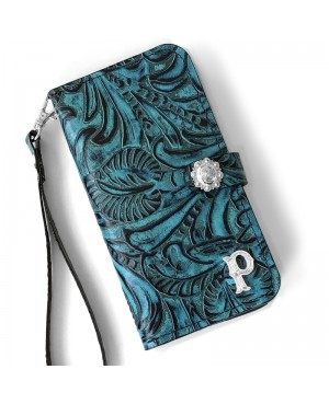 Western Style Black and Turquoise Leather phone case