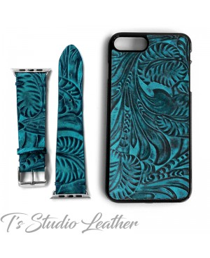 Western Style Black and Turquoise Leather Apple Watch band and matching phone case
