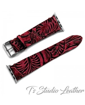 Western Style Black and Burgundy Leather Apple Watch band