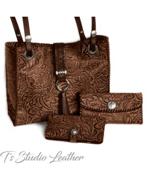 Western Style Brown and Black Leather Handbag, matching wallet and phone case