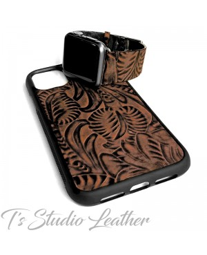 Western Style Brown and Black Leather Apple Watch band and matching phone case