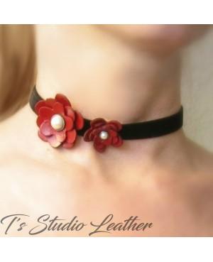 Red Leather Flower Choker Necklace - Black Velvet