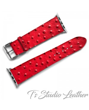 Red Leather Ostrich Print - Genuine Leather Watch Band