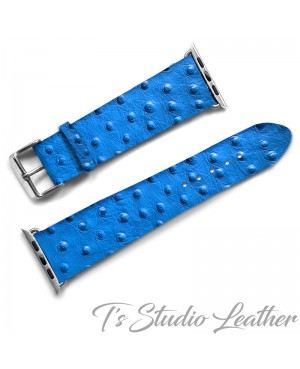 Blue Ostrich Print Leather Apple Watch band