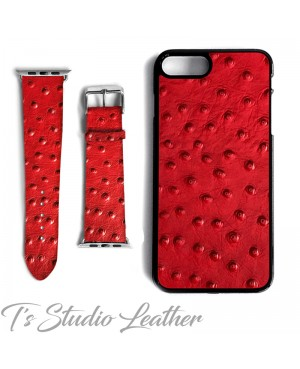 Red Leather Ostrich Print - Genuine Leather Watch Band and Matching phone case