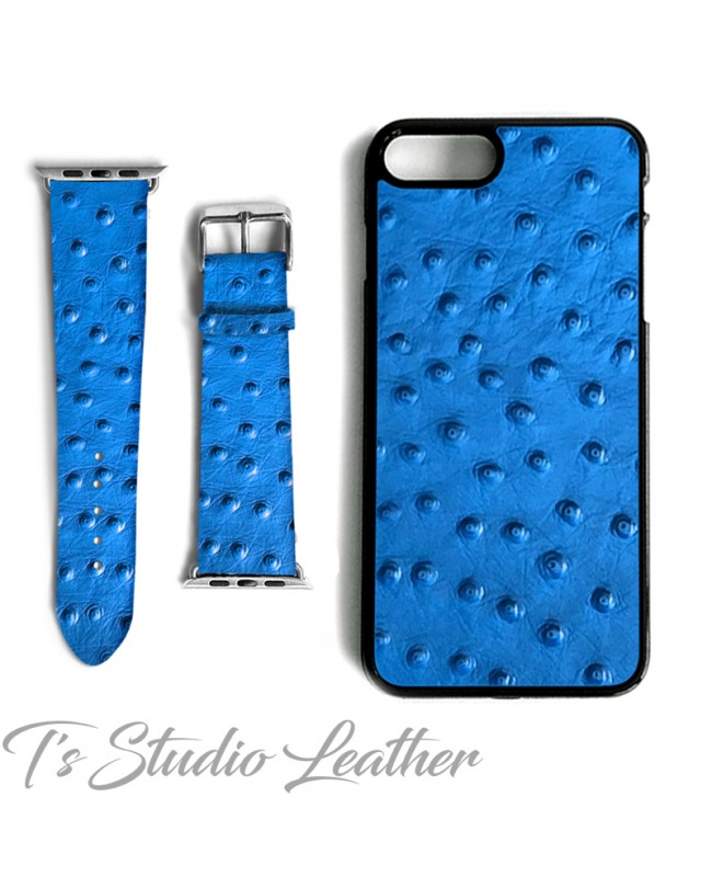 Blue Ostrich Print Leather Phone Case and Watch band