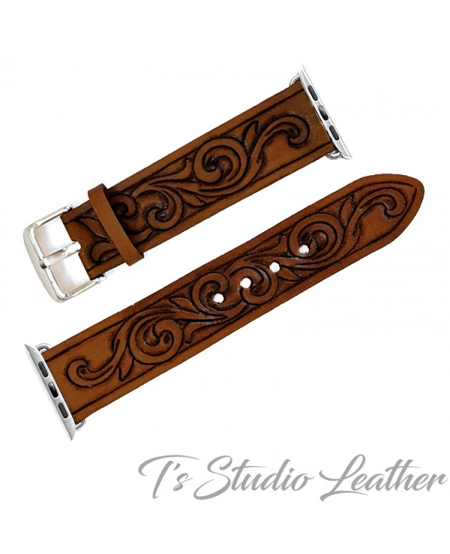 Western Style Hand Tooled Leather Apple Watch band in dark brown