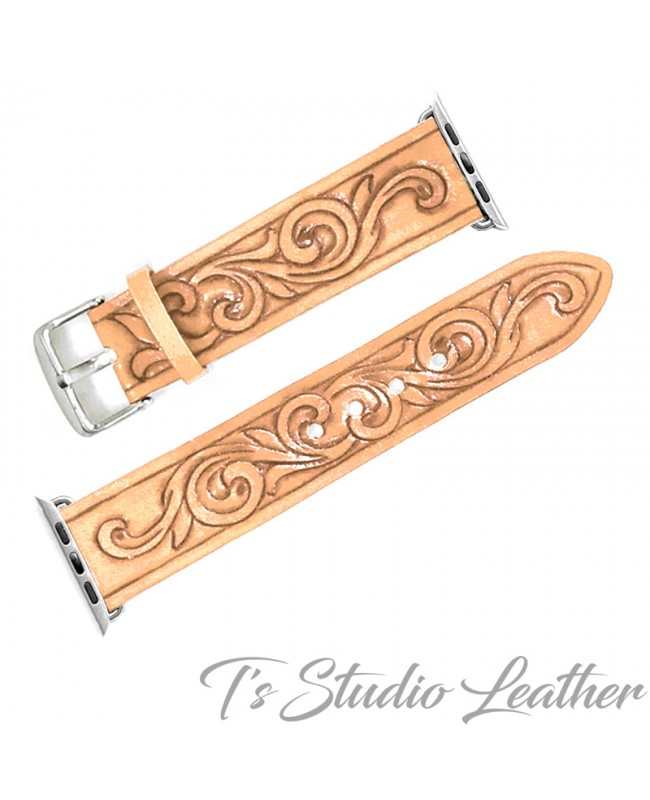 Western Style Hand Tooled Leather Apple Watch band in Natural Tan