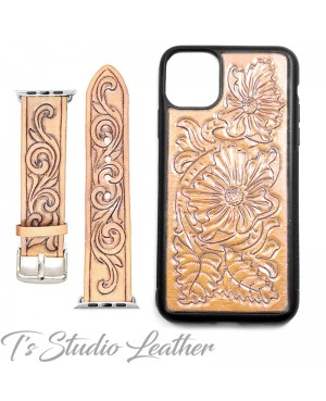 Western Style Hand Tooled Leather Apple Watch band and matching phone case