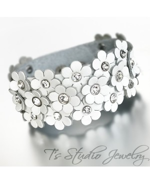 White Leather Flower Cuff Wristband Bracelet with Rhinestone Crystal Rivet Accents