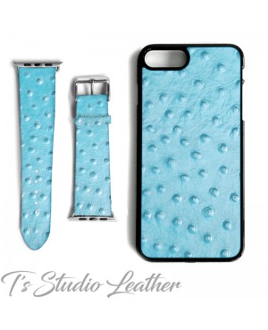 Light Blue Ostrich Print Leather Phone Case and Watch band