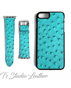 Turquoise Ostrich Print Leather Phone Case and Watch band