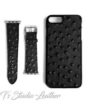 Black Leather Ostrich Print - Genuine Leather Watch Band and Matching phone case