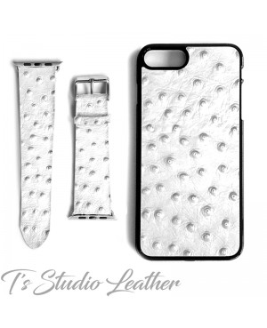 White Leather Ostrich Print - Genuine Leather Watch Band and Matching phone case