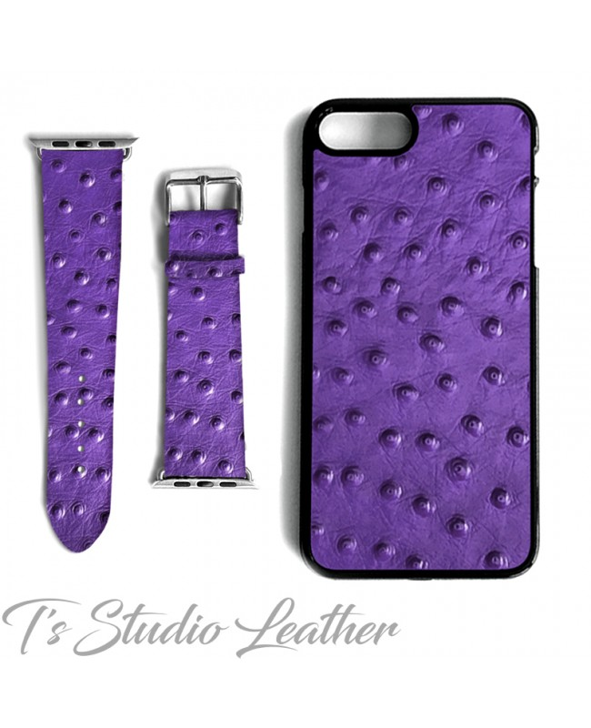 Purple Ostrich Print Leather Phone Case and Watch band