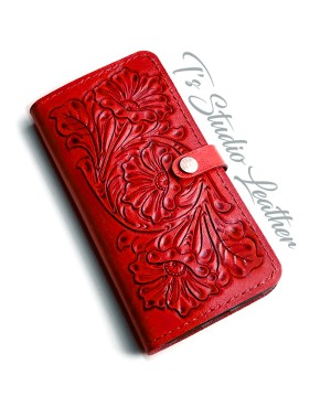 Red Hand Tooled Leather Phone Case - Western Style floral folio wallet style case