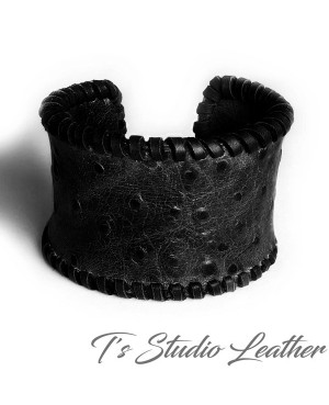 Leather Cuff Bracelet in Off-white Ostrich Print with Whipstitched Edge