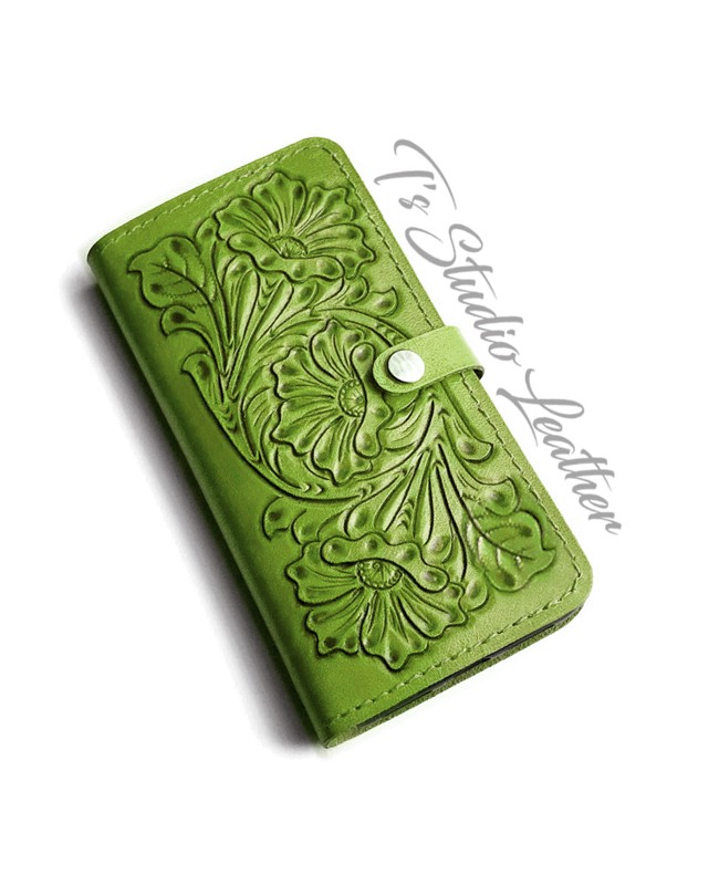 Green Hand Tooled Leather Phone Case - Western Style floral folio wallet style case