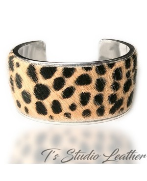 Leather Cuff Bracelet - Cheetah Print Hair-on Genuine Cowhide Leather in Silver Base