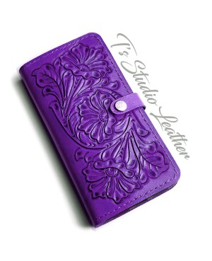 Purple Hand Tooled Leather Phone Case - Western Style floral folio wallet style case