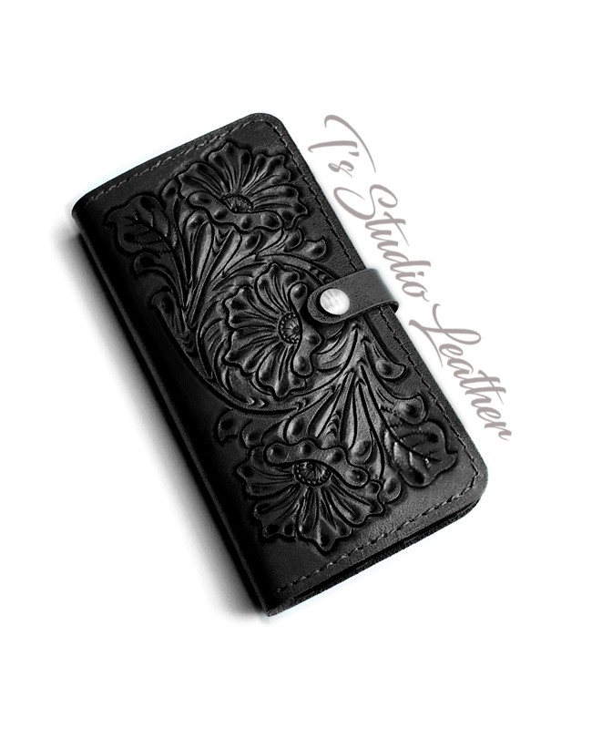 Hand Tooled Black Leather Phone Case - Western Style floral folio wallet style case