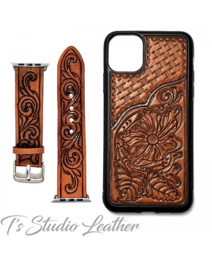 Hand Tooled Leather iPhone Case - Western Style basketweave and floral case and matching watch band