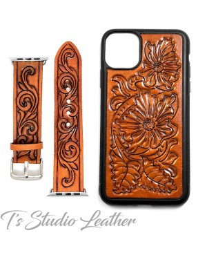 Western Style Hand Tooled Leather Phone Case and matching watch band, by Ts Studio Leather