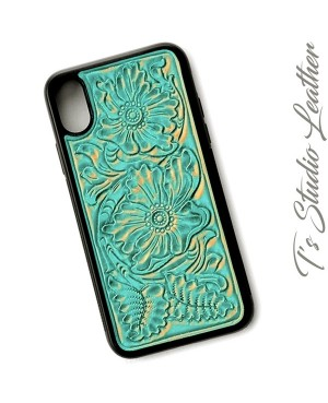 Western Style Hand Tooled Turquoise Leather Phone Case by Ts Studio Leather
