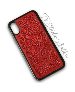Western Style Hand Tooled Red Leather Phone Case by Ts Studio Leather