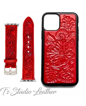 Western Style Hand Tooled Red Leather Phone Case and matching watch band, by Ts Studio Leather
